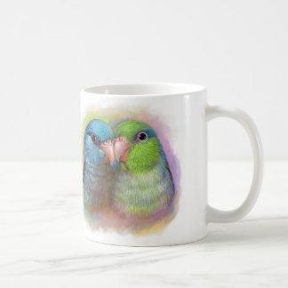 Pintura realista del loro pacífico del parrotlet taza de café