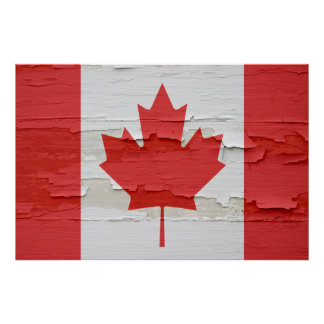 Pintura resistida bandera canadiense posters