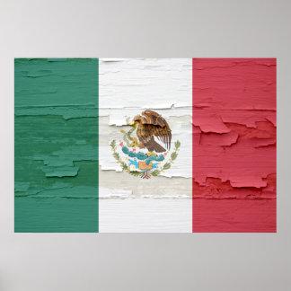 Pintura resistida de la bandera mexicana póster