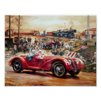Pintura retra del coche de competición póster
