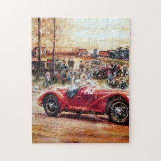 Pintura retra del coche de competición puzzle