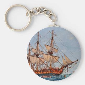Pintura revolucionaria de la fragata Confederacy Llavero Redondo Tipo Pin