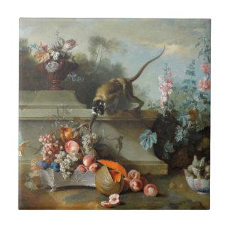Pintura rococó por el año del mono azulejo cuadrado pequeño