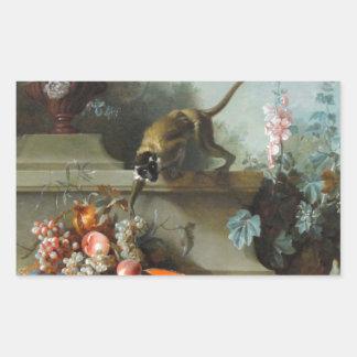 Pintura rococó por el año del mono pegatina rectangular
