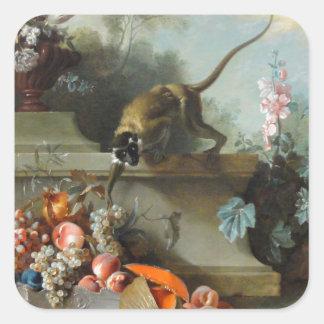 Pintura rococó por el año del mono pegatina cuadrada