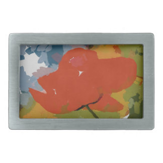 Pintura roja de la amapola hebilla cinturon rectangular