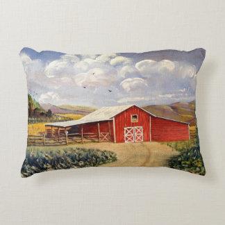 Pintura roja de la bella arte de la granja de cojín