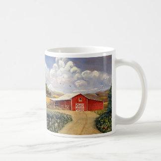 Pintura roja de la bella arte de la granja de taza básica blanca