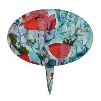 Pintura roja de la bella arte de las amapolas del palillos de tarta