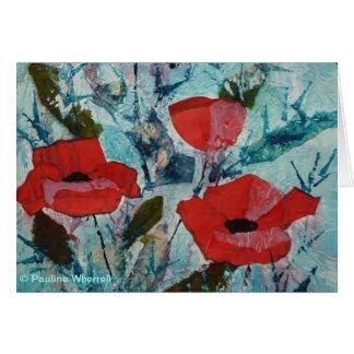 Pintura roja de la bella arte de las amapolas del tarjeta de felicitación