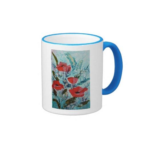 Pintura roja de la bella arte de las amapolas del  taza