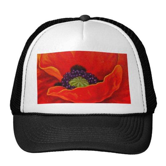 Pintura roja de la flor de la amapola - multi gorras de camionero