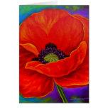 Pintura roja de la flor de la amapola - multi felicitacion