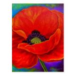 Pintura roja de la flor de la amapola - multi tarjeta postal