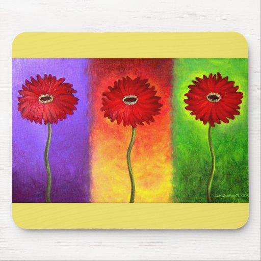 Pintura roja de la flor de la margarita - multi tapetes de raton