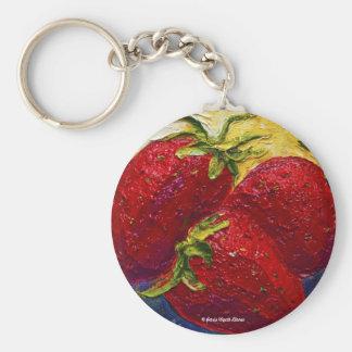 Pintura roja de la fruta de las fresas llavero redondo tipo pin