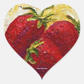 Pintura roja de la fruta de las fresas calcomanía de corazón