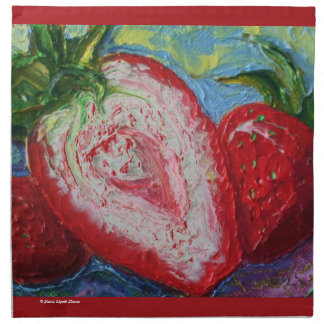 Pintura roja de la fruta de las fresas servilleta de papel
