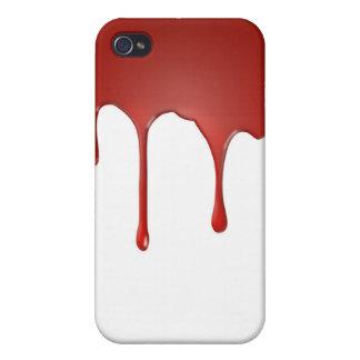 Pintura roja de la sangre que gotea la caja de Iph iPhone 4 Coberturas