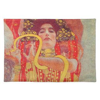 Pintura roja de la serpiente del oro de la mujer d mantel individual