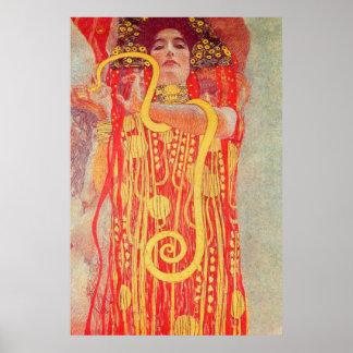 Pintura roja de la serpiente del oro de la mujer d posters
