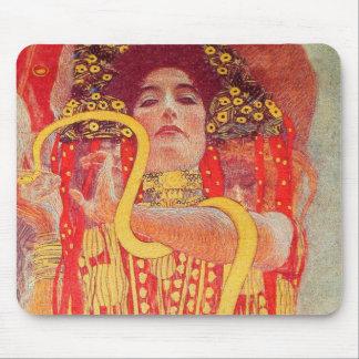 Pintura roja de la serpiente del oro de la mujer d mousepad