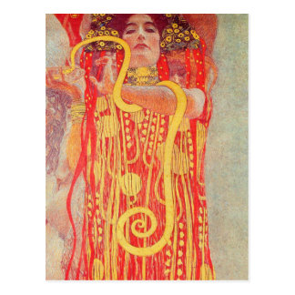 Pintura roja de la serpiente del oro de la mujer d postal