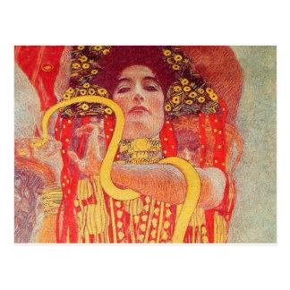 Pintura roja de la serpiente del oro de la mujer d tarjeta postal