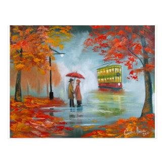 Pintura roja de la tranvía del paraguas del otoño postales