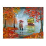 Pintura roja de la tranvía del paraguas del otoño postal