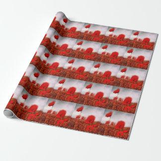 Pintura roja de las amapolas papel de regalo