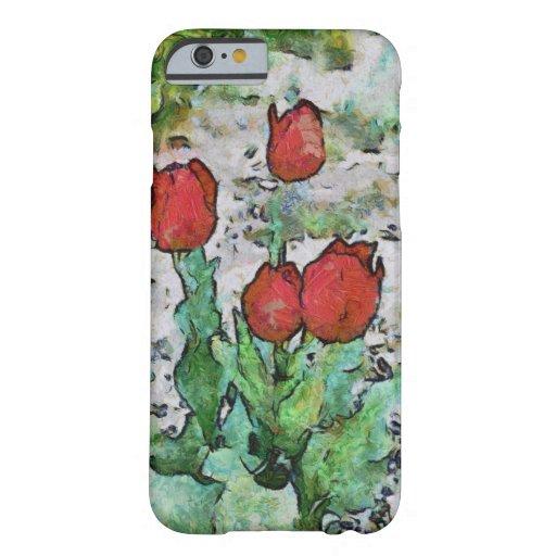 Pintura roja de los tulipanes funda de iPhone 6 barely there