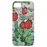 Pintura roja de los tulipanes iPhone 5 carcasas