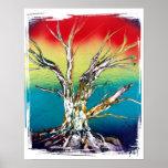 Pintura roja del árbol del deadwood del verde amar poster