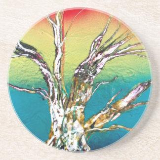 Pintura roja del árbol del deadwood del verde amar posavasos para bebidas