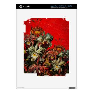 Pintura roja del cepillo del aceite de las flores iPad 3 skins