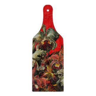 Pintura roja del cepillo del aceite de las flores tabla de cortar