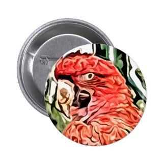 pintura roja del cockatoo pin redondo 5 cm