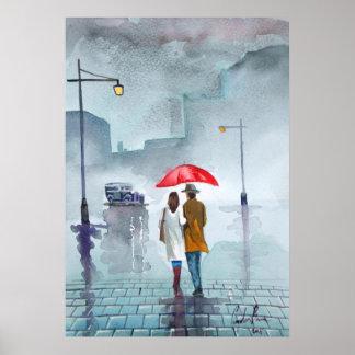 Pintura roja del paraguas de los pares románticos  posters