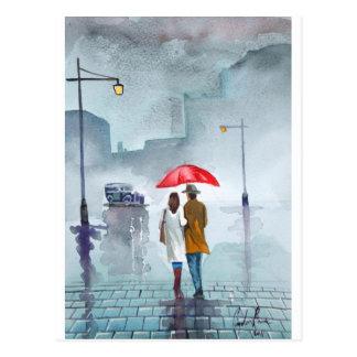 Pintura roja del paraguas de los pares románticos tarjeta postal