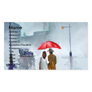 Pintura roja del paraguas de los pares románticos tarjetas de visita