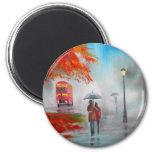 Pintura roja del paraguas del autobús del otoño de imán para frigorífico