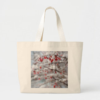 Pintura roja hivernal de las bayas bolsa tela grande
