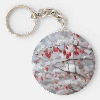 Pintura roja hivernal de las bayas llavero redondo tipo pin