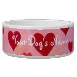 Pintura roja personalizada de los corazones tazones para perro