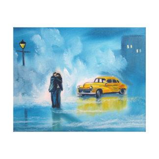 Pintura romántica amarilla de los pares del día impresiones de lienzo