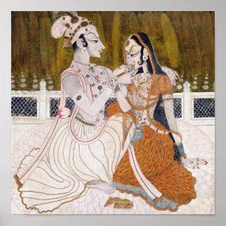 Pintura romántica de Krishna y de Radha Poster