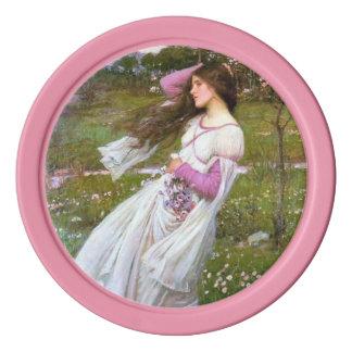 Pintura romántica de la letra de la señora amor de fichas de póquer