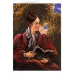 Pintura romántica de una lectura de la mujer en un felicitacion