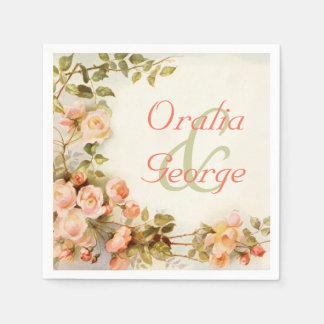 Pintura romántica del vintage de casarse de los servilletas desechables
